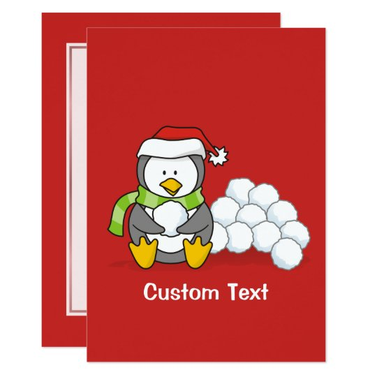 Christmas penguin sitting with snow balls card