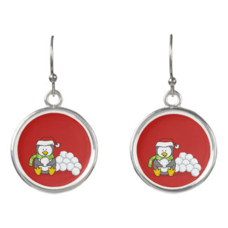 Christmas penguin sitting with snow balls earrings