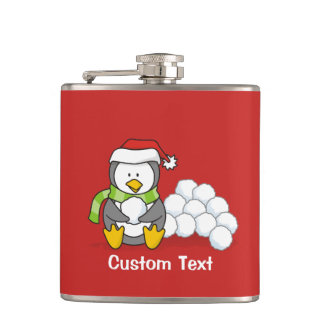Christmas penguin sitting with snow balls hip flask