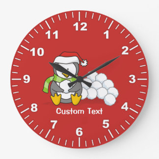 Christmas penguin sitting with snow balls large clock