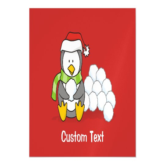 Christmas penguin sitting with snow balls magnetic card