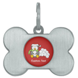 Christmas penguin sitting with snow balls pet name tag