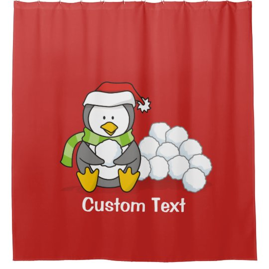 Christmas penguin sitting with snow balls shower curtain