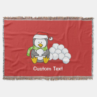 Christmas penguin sitting with snow balls throw blanket