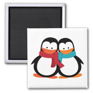 Christmas Penguin Square Magnet