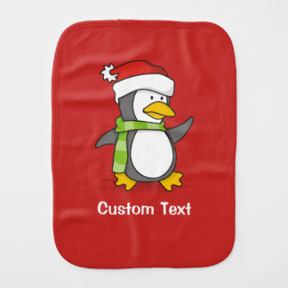 Christmas penguin walking on snow burp cloth