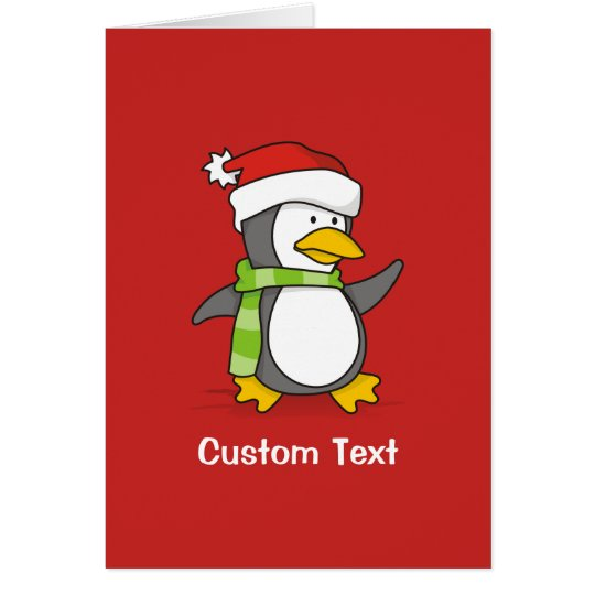 Christmas penguin walking on snow card