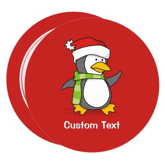 Christmas penguin walking on snow card