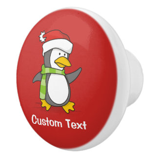 Christmas penguin walking on snow ceramic knob