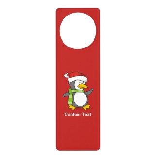 Christmas penguin walking on snow door hanger