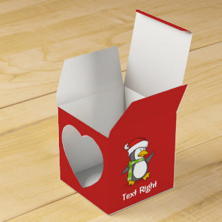 Christmas penguin walking on snow favour box