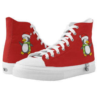 Christmas penguin walking on snow high tops