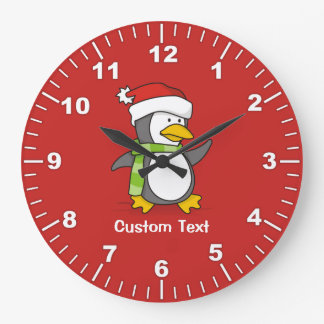 Christmas penguin walking on snow large clock