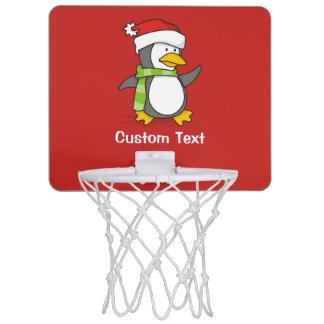 Christmas penguin walking on snow mini basketball hoop