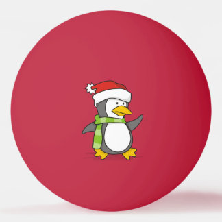 Christmas penguin walking on snow ping pong ball