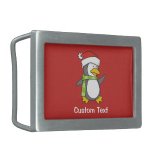 Christmas penguin walking on snow rectangular belt buckles