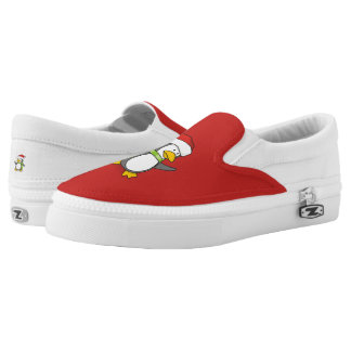 Christmas penguin walking on snow Slip-On shoes