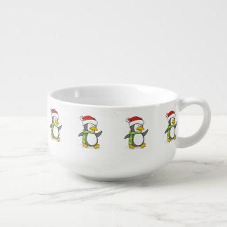 Christmas penguin walking on snow soup mug