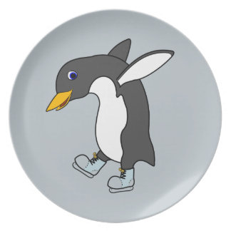 Christmas Penguin with Blue & Silver Ice Skates Party Plates