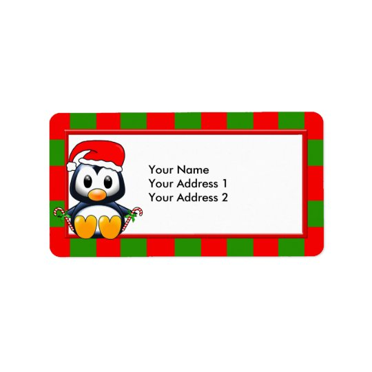 Christmas Penguin with Candy Canes & Santa Hat Address Label