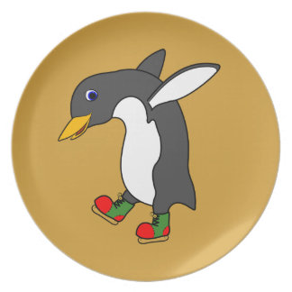 Christmas Penguin with Red & Green Ice Skates Party Plates