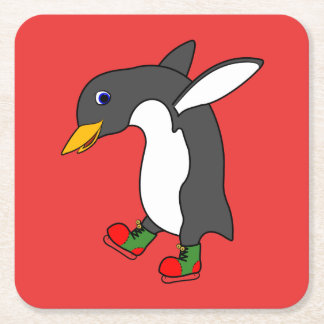 Christmas Penguin with Red & Green Ice Skates Square Paper Coaster