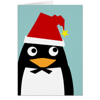 Christmas Penguin with Santa Hat Greeting Card