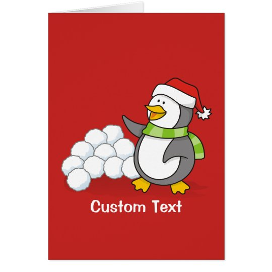 Christmas penguin with snow balls waving card