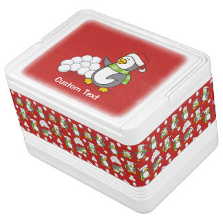 Christmas penguin with snow balls waving cooler