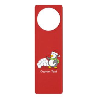 Christmas penguin with snow balls waving door hanger