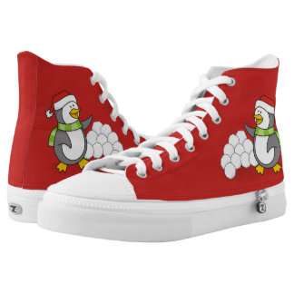 Christmas penguin with snow balls waving high tops