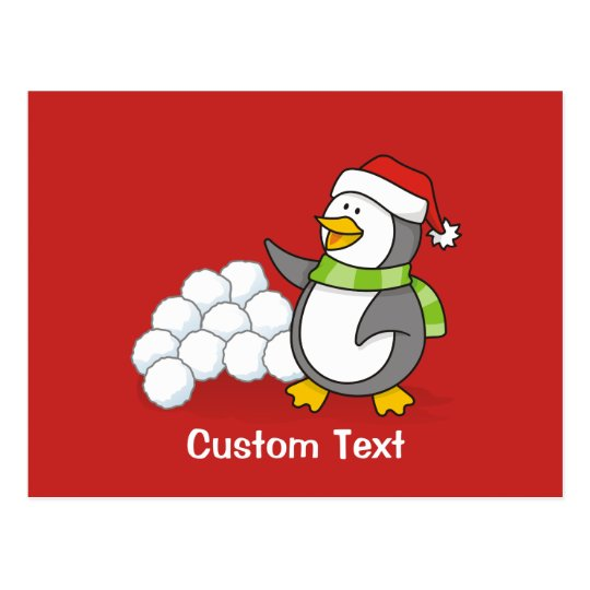 Christmas penguin with snow balls waving postcard
