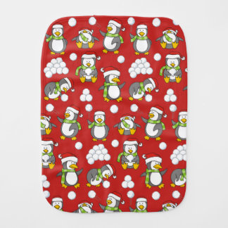 Christmas penguins background burp cloth