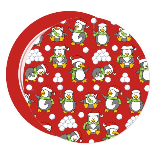 Christmas penguins background card