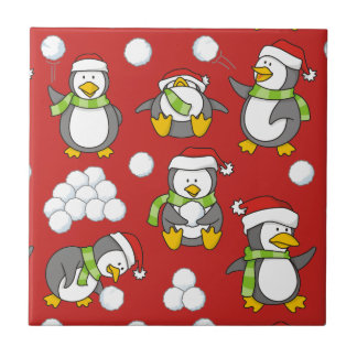 Christmas penguins background ceramic tile
