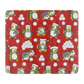 Christmas penguins background cutting board