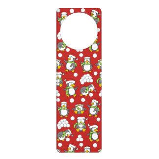 Christmas penguins background door hanger