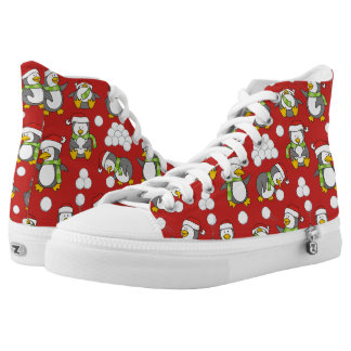 Christmas penguins background high tops