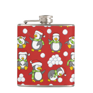 Christmas penguins background hip flask