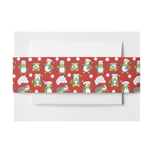 Christmas penguins background invitation belly band
