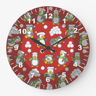 Christmas penguins background large clock