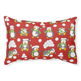 Christmas penguins background pet bed
