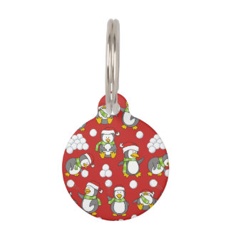 Christmas penguins background pet ID tag