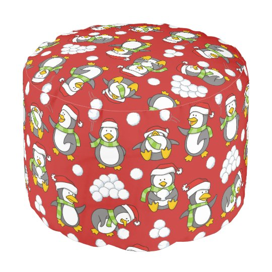 Christmas penguins background pouf