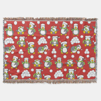 Christmas penguins background throw blanket