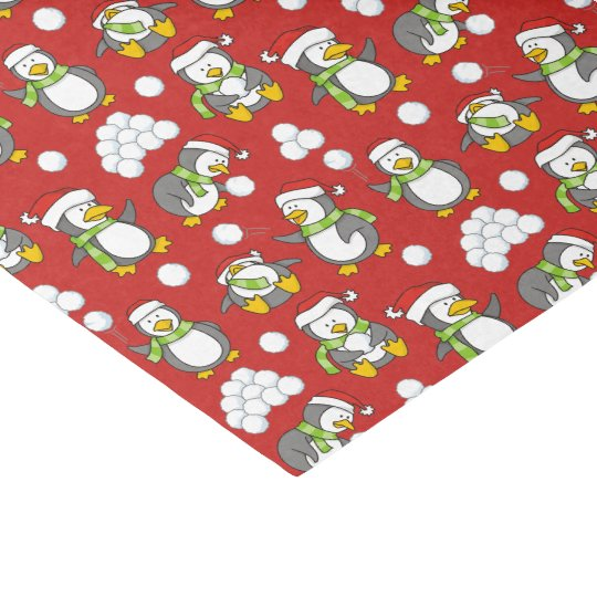 Christmas penguins background tissue paper