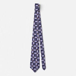 Christmas penguins bird blue white patterned tie