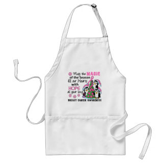 Christmas Penguins Breast Cancer Adult Apron