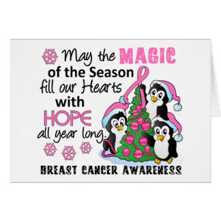 Christmas Penguins Breast Cancer Greeting Card