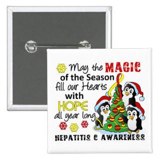 Christmas Penguins Hepatitis C Pinback Button